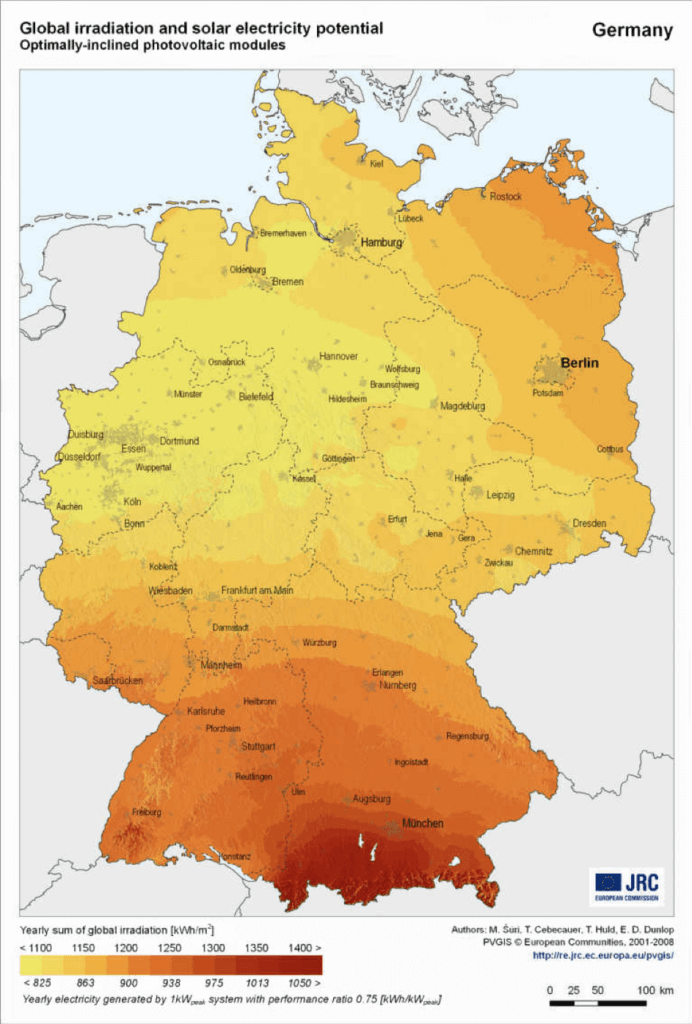 Annual global radiation of the sun in Germany